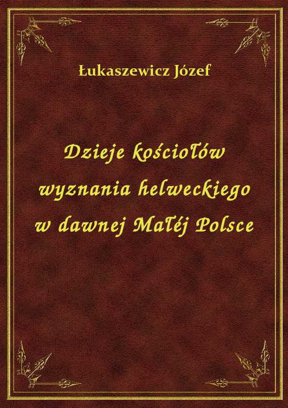 Dzieje kościołów wyznania helweckiego w dawnej Małéj Polsce ebook