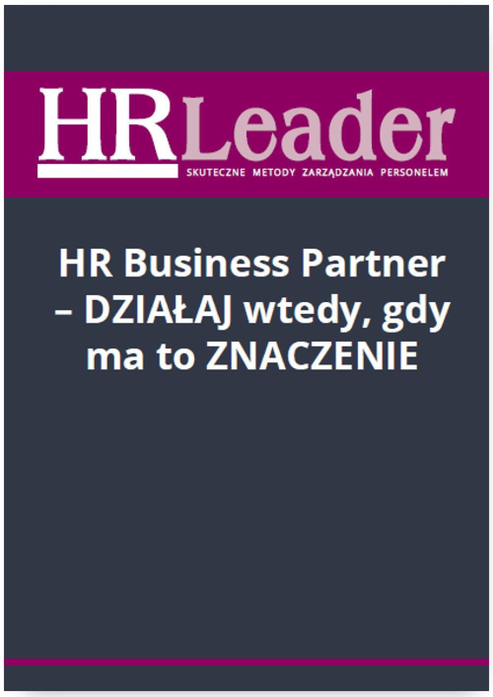 HR Business Partner - działaj wtedy, gdy ma to znaczenie ebook