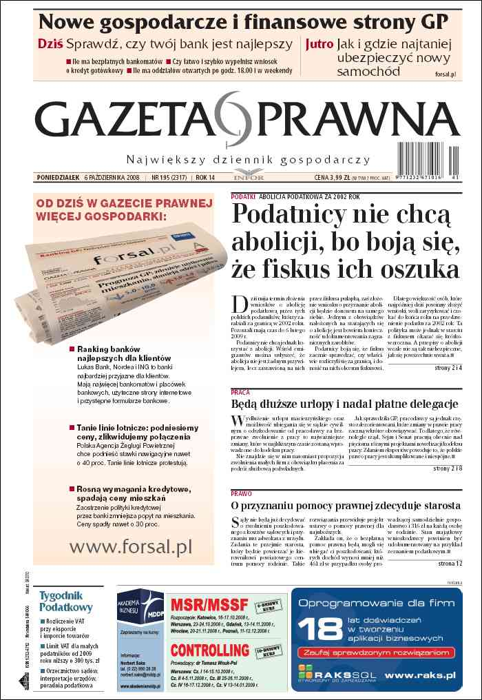 Gazeta Prawna - wydanie darmowe, za darmo, free - ePrasa, dziennik, czasopismo, polityka, gospodarka, biznes