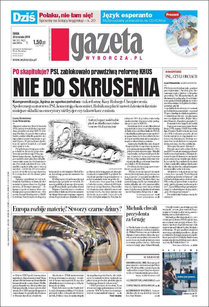Gazeta Wyborcza - Zielona Góra - wydanie darmowe – 212/2008